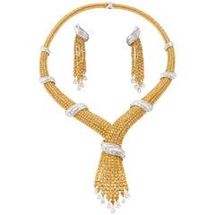 48.40 Carat Yellow Diamond Necklace with Matching Earrings