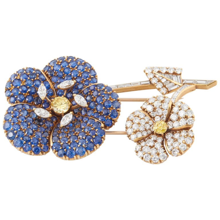 Cartier Sapphire Diamond Flower Brooch For Sale