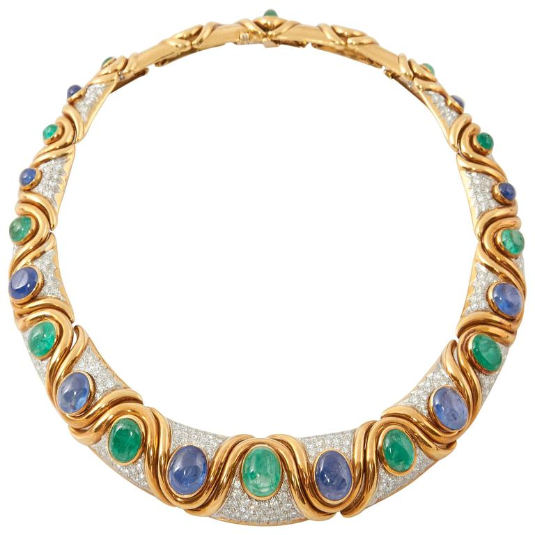David Webb Emerald Sapphire Diamond Platinum Necklace