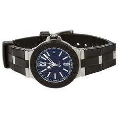 Bulgari Stainless Steel Navy Dial Diagono Manual Wind Wristwatch