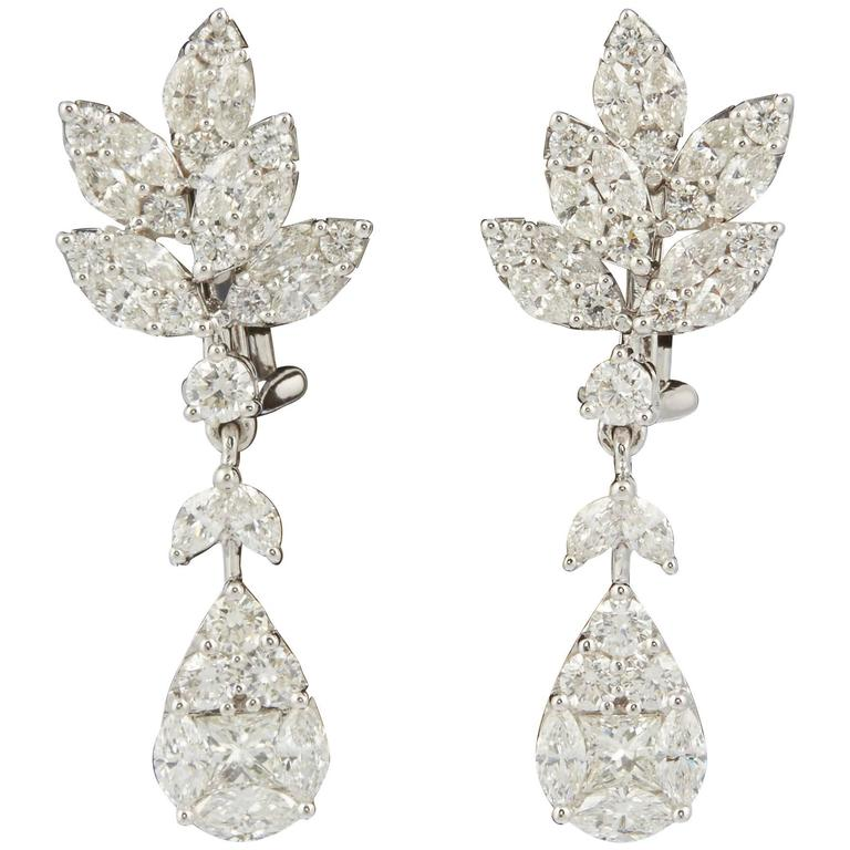 Classic Diamond Drop Gold Earrings