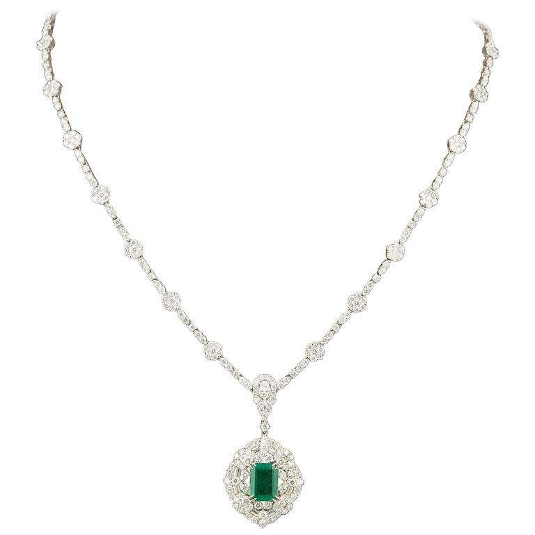Green Emerald Diamond White Gold Pendant Necklace