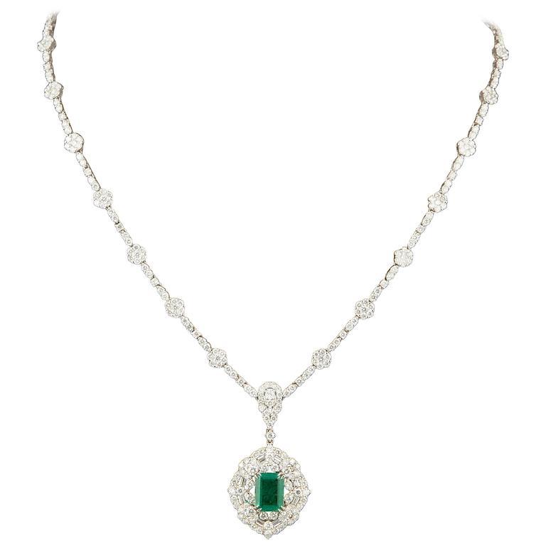 Green Emerald Diamond White Gold Pendant Necklace For Sale