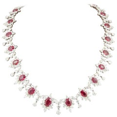Important Burma Ruby and Diamond Necklace