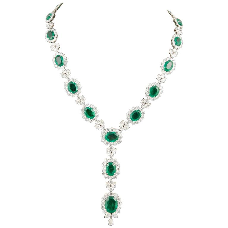 Emerald Diamond Platinum Drop Necklace