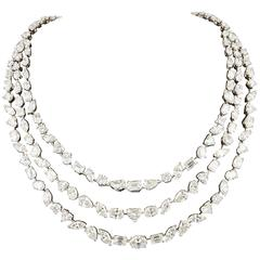 Important Multi Shape Diamond white gold Three-Row Necklace