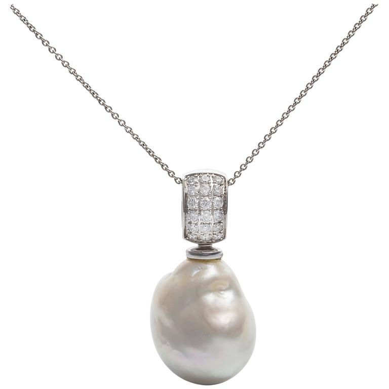 Chantecler diamond south sea baroque pearl pendant white gold 044 carat white diamond baroque pendant australian south sea pearl aloadofball Gallery