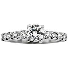 Estate Diamond Engagement Ring .50 Total Carat Diamonds, 14 Karat White Gold