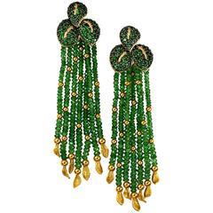 Alex Soldier Chrome Diopside Tsavorite Garnet Gold Dangle Earrings One of a kind