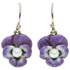 Art Nouveau Purple Enamel Pansy Earrings