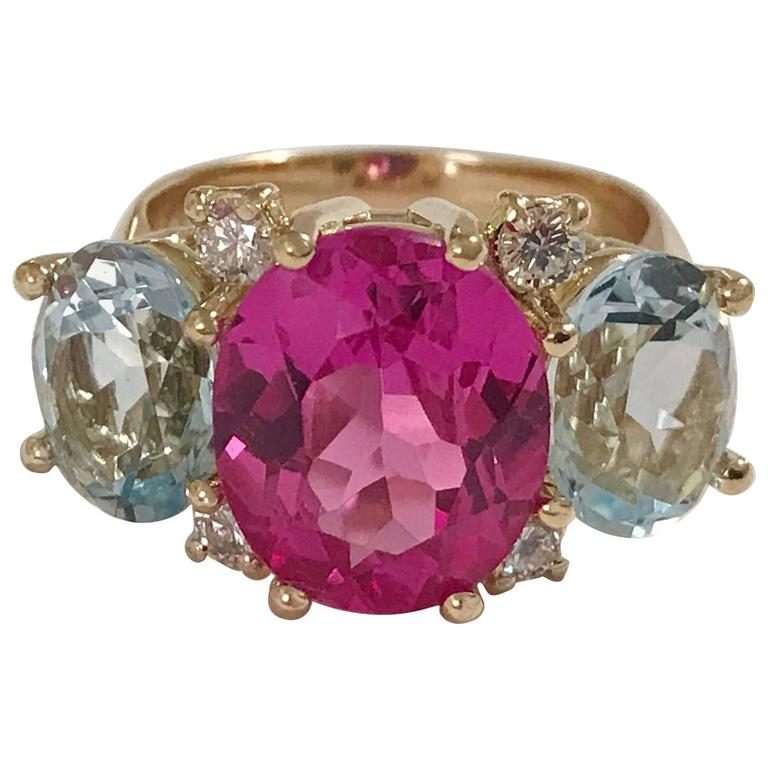 Medium GUM DROP™ Ring with Pink and Blue Topaz  1