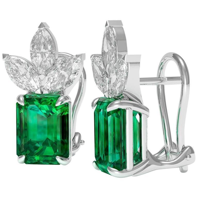 8.50 Carat Total Weight Emerald Diamond Earrings