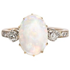 1880s Victorian 2.50 Carat Opal and .60 Carat Diamond Engagement Ring