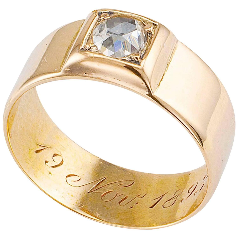 Dutch 1893 Rose Cut Diamond Gold Band Ring at 1stdibs