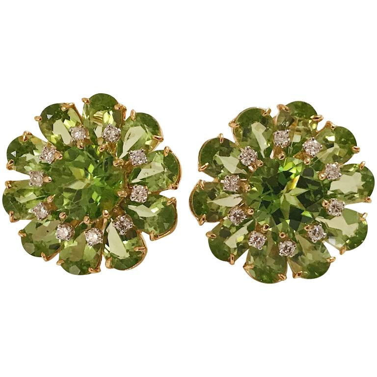 Peridot Diamonds Gold Flower Earrings 1