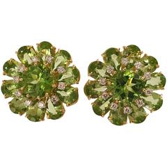 Peridot Diamonds Gold Flower Earrings