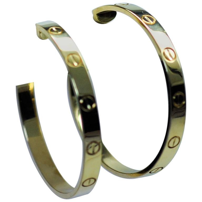 Cartier Yellow Gold Large Love Hoop Earrings   For Sale