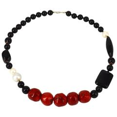 Black Onyx, Agate, Red Bamboo Coral and Freshwater Pearl Necklace