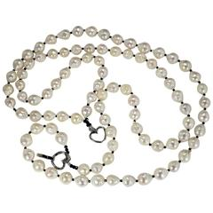 Double Strand White Fireball Pearl Necklace