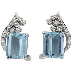 1950s Stunning 0.55 Carat Diamonds Aquamarine Platinum Clip Earrings