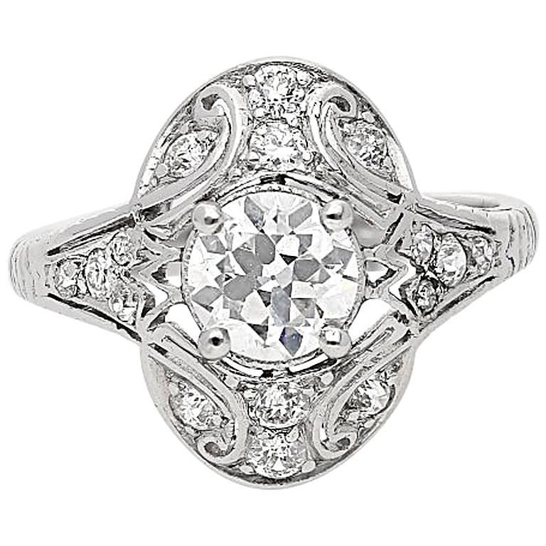 Art Deco 0.83 Carat EGL Certified Old-Cut Diamond Gold Platinum Ring