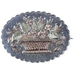 Antique Victorian Silver Gold Basket Brooch, circa 1888
