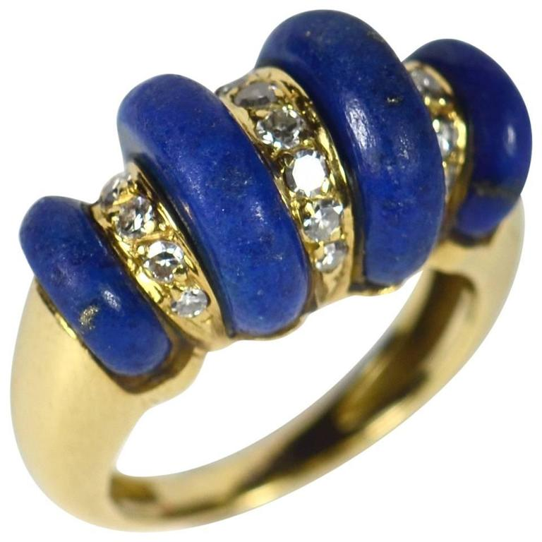 French Lapis Lazuli Diamond Gold Ring, circa 1970