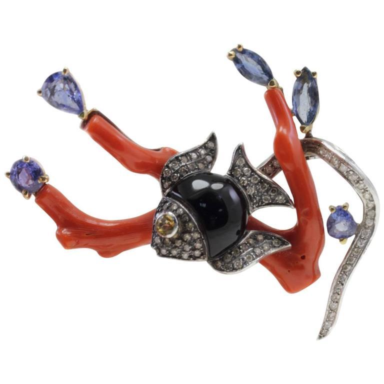Coral Onyx Sapphire Diamond Gold Brooch Pendant