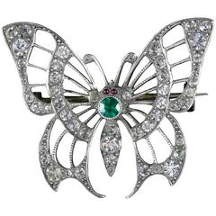 Antique Victorian Paste Silver Butterfly Brooch, circa 1900