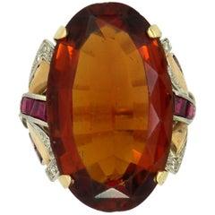Mid-20th Century Citrine Diamond and Ruby Ring