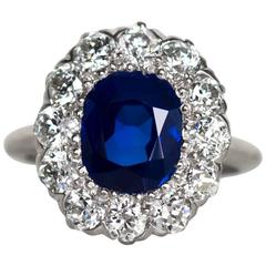 1905 Platinum AGL Certified Tiffany & Co. Sapphire and Diamond Engagement Ring