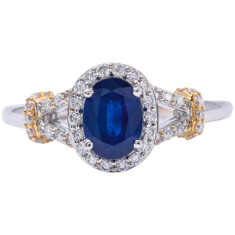Oval Sapphire Diamond Two Color Gold Engagement Ring