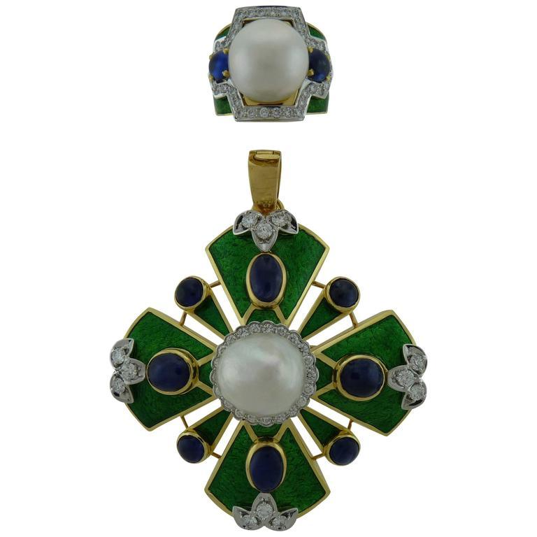 D.Webb Maltese Cross Diamond Pearl Sapphire Enamel Pendant/Brooch and Ring Set For Sale