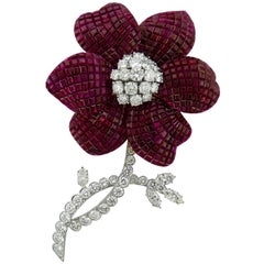 Aletto Brothers Invisibly Set Ruby and Diamond Platinum Flower Brooch