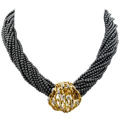 Hematite Torsade with Diamond Gold Clasp