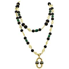 1.00 Carat Diamonds, Malachite, Onyx 18 Karat Yellow Gold Necklace