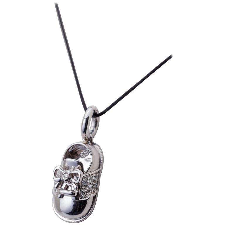 Aaron Basha Baby Saddle Shoe Charm 18 Karat White Gold Diamond 0.13 Carat