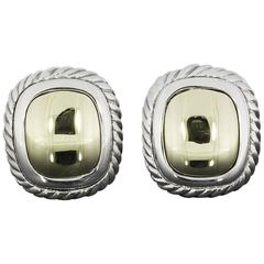 David Yurman Silver and Gold Dome Albion Cable Earrings
