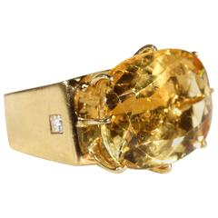 Modernist Citrine Sapphire Diamond Gold Ring