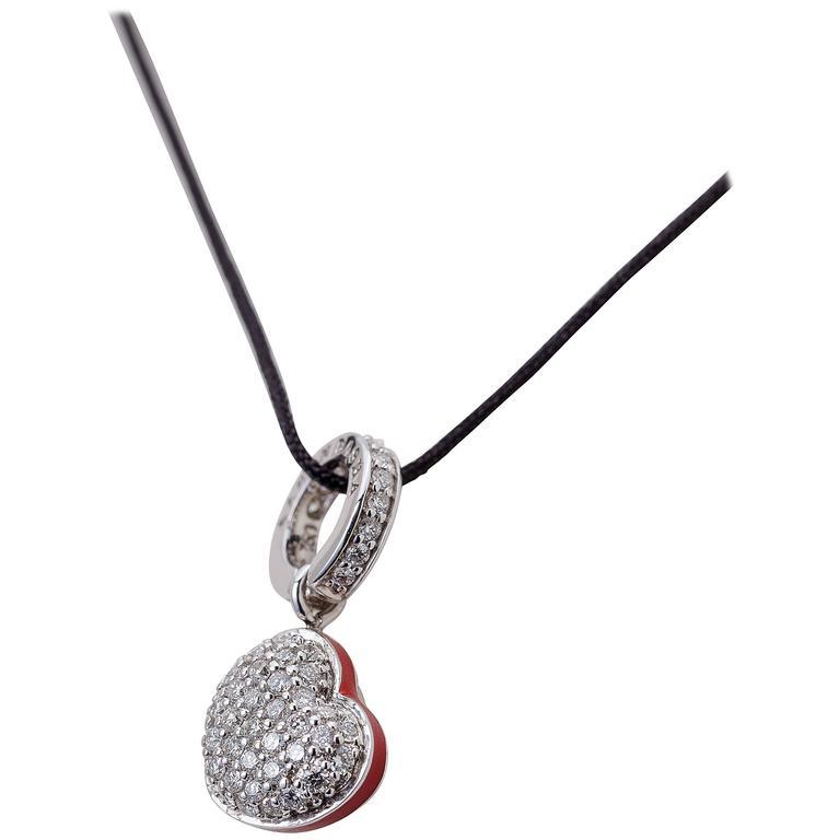 Aaron Basha Charm Mother-of-Pearl Pavé Diamond White Gold Heart Charm