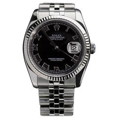 Rolex White Gold Stainless Steel Oyster Datejust Automatic Wristwatch