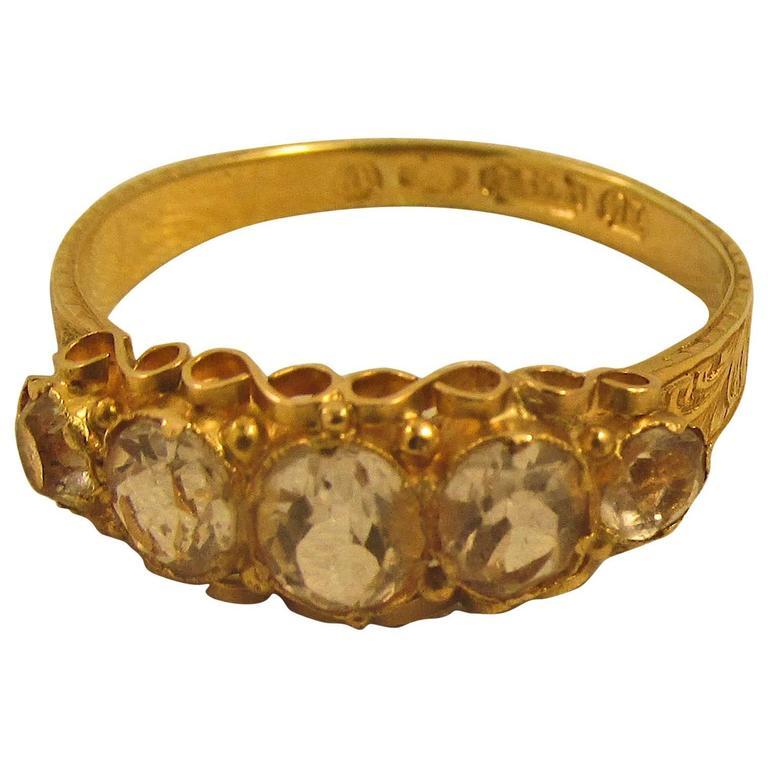 Antique Five-Stone Diamond Gold Ring