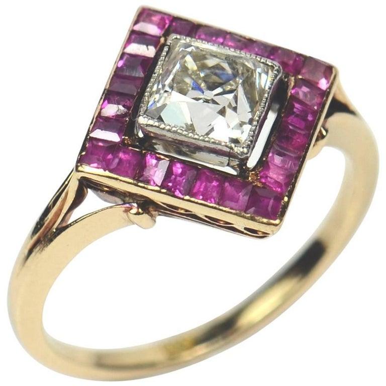 Edwardian 1.20 Carat Diamond Ruby Ring For Sale