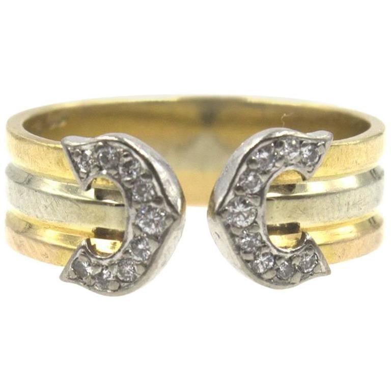 Cartier Double C Tri-Color Gold Diamond Ring