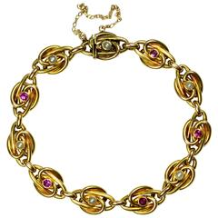 Pearl Ruby Gold Link Bracelet, circa 1900