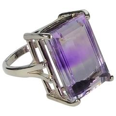 Clear Quartz with Amethyst Wave Sterling Silver Ring