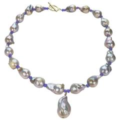 Baroque Pearl Necklace with Center Pearl Dangle