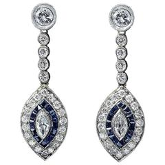1920 Blue Sapphire and Diamond Earrings in Original Box