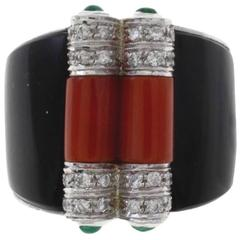 Luise Coral Onyx Emerald Diamond Gold Ring