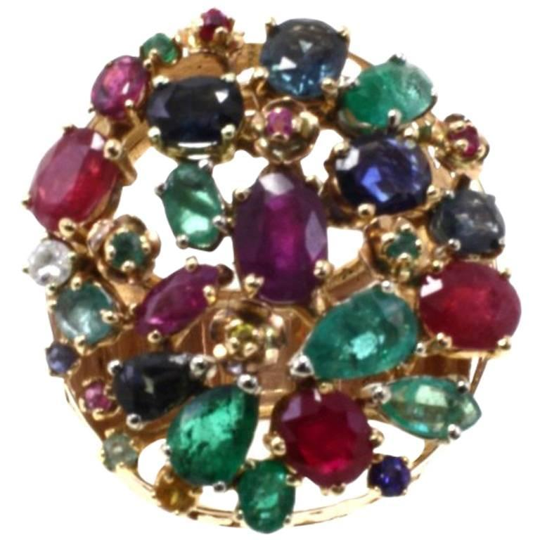 Gold Diamond Ruby Sapphire Emerald Cluster Ring